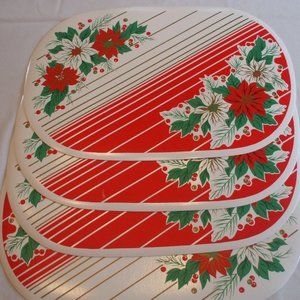 4 Thick Vinyl Red & White Oval Christmas Placemats